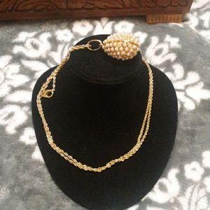 Golden Pearl Egg Drop Necklace